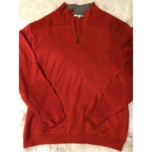 MENS CUTTER & BUCK 1/4 ZIP SWEATER Sz Xl Rust